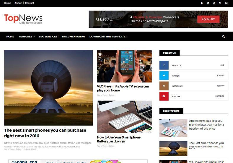 Top News Responsive Blogger Template is a highly seo optimized and friendly blogger theme for news and technology blogger