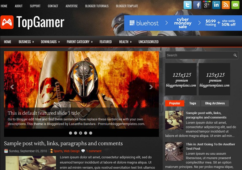Topgamer dark blogger template free graphics free for Create your own wordpress theme from an html template