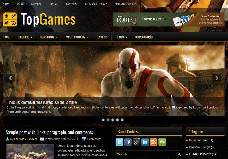 TopGames Anime Blogger Template. Blogger Themes. Free Blogspot templates for your blogger blog. Best suitable for news blog templates. Ads ready blogspot templates help for add adsense ad code and easily showing adsence ads in your blog. Adapted from WordPress templates are converted from WordPress themes. It is help for take your rich. Blogger magazine template specially designed for magazine blogs. The writers can utilize this themes for take blog attractive to users. Elegant themes are more used themes in most of the blogs. Use minimalist blog templates for rich look for your blog. Free premium blogger themes means, themes authors release two types of themes. One is premium another one is free. Premium templates given for cost but free themes given for no cost. You no need pay From California, USA. $10 USD, or $20 USD and more. But premium buyers get more facilities from authors But free buyers. If you run game or other animation oriented blogs, and you can try with Anime blog templates. Today the world is fashion world. So girls involve to the criteria for make their life fashionable. So we provide fashion blogger themes for make your fashionable. News is most important concept of the world. Download news blogger templates for publishing online news. You can make your blog as online shopping store. Get Online shopping store blogger template to sell your product. Navigation is most important to users find correct place. Download drop down menu, page navigation menu, breadcrumb navigation menu and vertical dropdown menu blogspot themes for free. Google Guide to blogging tips and tricks for bloggers. Google bloggers can get blogspot trick and tips for bloggers. Blog templates portfolio professional blogspot themes, You can store your life moments with your blogs with personal pages templates. Video and movie blogs owners get amazing movie blog themes for their blogs. Business templates download. We publish blogger themes for photographers. Photographers easily share photos via photography blog themes. St valentine Christmas Halloween templates. Download Slideshow slider templates for free. Under construction coming soon custom blogspot template. Best beautiful high quality Custom layouts Blog templates from templateism, SoraTemplates, templatetrackers, simple, cute free premium professional unique designs blog themes blogspot themes. Seo ready portfolio anime fashion movie movies health custom layouts best download blogspot themes simple cute free premium professional unique designs xml html code html5.