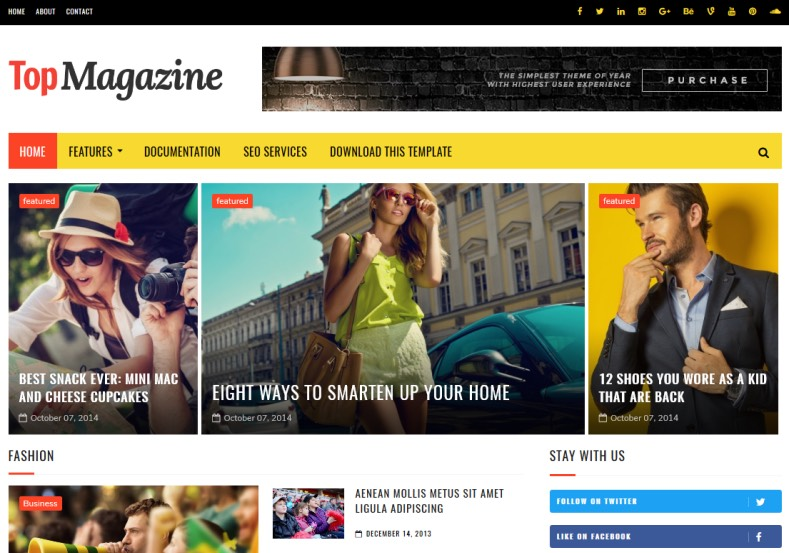 TopMagazine Blogger Template. Blogger templates 2017 namely TopMagazine Blogger Template designed by SoraTemplates. Have slider and social bookmarking icons. Download this template.