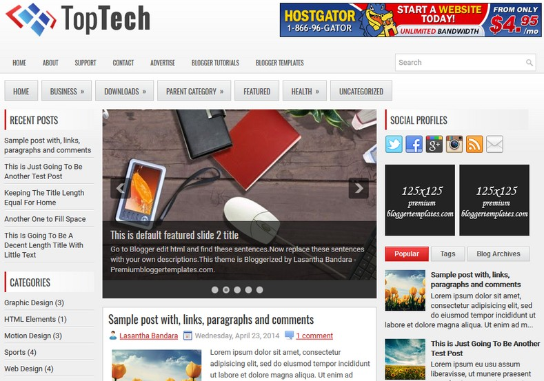 TopTech Responsive Blogger Template. Blogger Themes. Free Blogspot templates for your blogger blog. Best suitable for news blog templates. Ads ready blogspot templates help for add adsense ad code and easily showing adsence ads in your blog. Adapted from WordPress templates are converted from WordPress themes. It is help for take your rich. Blogger magazine template specially designed for magazine blogs. The writers can utilize this themes for take blog attractive to users. Elegant themes are more used themes in most of the blogs. Use minimalist blog templates for rich look for your blog. Free premium blogger themes means, themes authors release two types of themes. One is premium another one is free. Premium templates given for cost but free themes given for no cost. You no need pay From California, USA. $10 USD, or $20 USD and more. But premium buyers get more facilities from authors But free buyers. If you run game or other animation oriented blogs, and you can try with Anime blog templates. Today the world is fashion world. So girls involve to the criteria for make their life fashionable. So we provide fashion blogger themes for make your fashionable. News is most important concept of the world. Download news blogger templates for publishing online news. You can make your blog as online shopping store. Get Online shopping store blogger template to sell your product. Navigation is most important to users find correct place. Download drop down menu, page navigation menu, breadcrumb navigation menu and vertical dropdown menu blogspot themes for free. Google Guide. Blogging tips and Tricks for bloggers. Google bloggers can get blogspot trick and tips for bloggers. Blog templates portfolio professional blogspot themes, You can store your life moments with your blogs with personal pages templates. Video and movie blogs owners get amazing movie blog themes for their blogs. Business templates download. We publish blogger themes for photographers. Photographers easily sh
