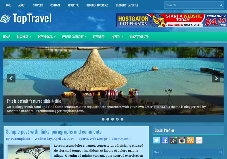 TopTravel Blogger Templates