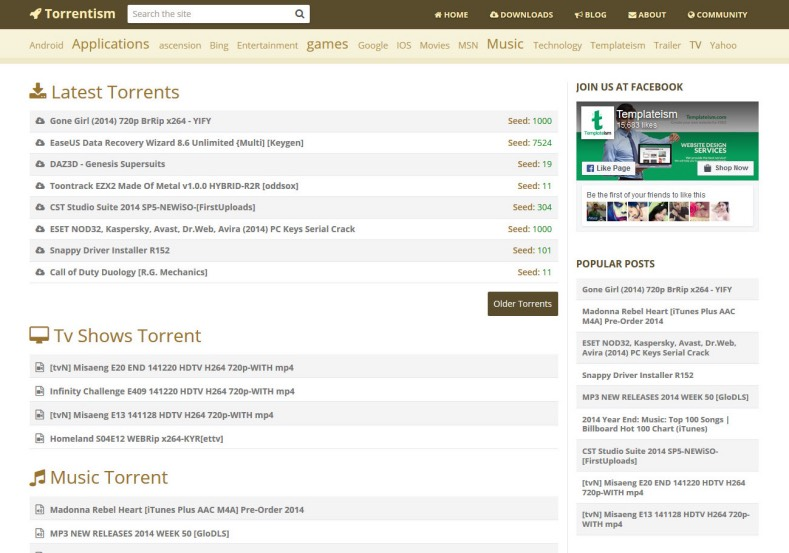 Torrentism File Share Blogger Template. Blogger Themes. Best suitable for news blog templates. Ads ready blogspot templates help for add adsense ad code and easily showing adsence ads in your blog. Adapted from WordPress templates are converted from WordPress themes. It is help for take your rich. Blogger magazine template specially designed for magazine blogs. The writers can utilize this themes for take blog attractive to users. Elegant themes are more used themes in most of the blogs. Minimalist blog templates. Free premium blogger themes means, themes authors release two types of themes. One is premium another one is free. Premium templates given for cost but free themes given for no cost. You no need pay From California, USA. $10 USD, or $20 USD and more. But premium buyers get more facilities from authors But free buyers. If you run game or other animation oriented blogs, and you can try with Anime blog templates. Today the world is fashion world. So girls involve to the criteria for make their life fashionable. So we provide fashion blogger themes for make your fashionable. News is most important concept of the world. Download news blogger templates for publishing online news. You can make your blog as online shopping store. Get Online shopping store blogger template to sell your product. Navigation is most important to users find correct place. Download drop down menu, page navigation menu, breadcrumb navigation menu and vertical dropdown menu blogspot themes for free. Google Guide. Blogging tips and Tricks for bloggers. Google bloggers can get blogspot trick and tips for bloggers. Blog templates portfolio professional blogspot themes, You can store your life moments with your blogs with personal pages templates. Video and movie blogs owners get amazing movie blog themes for their blogs. Business templates download. We publish blogger themes for photographers. Photographers easily share photos via photography blog themes. St valentine Christmas Halloween templates. Download Slideshow slider templates for free. Under construction coming soon custom blogspot template. Best beautiful high quality Custom layouts Blog templates from templateism, SoraTemplates, templatetrackers, simple, cute free premium professional unique designs blog themes blogspot themes. Seo ready portfolio anime fashion movie movies health custom layouts best download blogspot themes simple cute free premium professional unique designs xml html code html5.