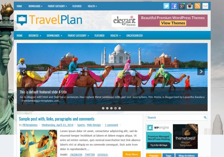 TravelPlan Responsive Blogger Template. Blogger Themes. Free Blogspot templates for your blogger blog. Best suitable for news blog templates. Best Ads ready blogspot templates help for add adsense ad code and easily showing adsence ads in your blog. Adapted from WordPress templates are converted from WordPress themes. It is help for take your rich. Blogger magazine template specially designed for magazine blogs. The writers can utilize this themes for take blog attractive to users. Elegant themes are more used themes in most of the blogs. Use minimalist blog templates for rich look for your blog. Free premium blogger themes means, themes authors release two types of themes. One is premium another one is free. Premium templates given for cost but free themes given for no cost. You no need pay From California, USA. $10 USD, or $20 USD and more. But premium buyers get more facilities from authors But free buyers. If you run game or other animation oriented blogs, and you can try with Anime blog templates. Today the world is fashion world. So girls involve to the criteria for make their life fashionable. So we provide fashion blogger themes for make your fashionable. News is most important concept of the world. Download news blogger templates for publishing online news. You can make your blog as online shopping store. Get Online shopping store blogger template to sell your product. Navigation is most important to users find correct place. Download drop down menu, page navigation menu, breadcrumb navigation menu and vertical dropdown menu blogspot themes for free. Google Guide to blogging tips and tricks for bloggers. Google bloggers can get blogspot trick and tips for bloggers. Blog templates portfolio professional blogspot themes, You can store your life moments with your blogs with personal pages templates. Video and movie blogs owners get amazing movie blog themes for their blogs. Business templates download. We publish blogger themes for photographers. Photographers easily share photos via photography blog themes. St valentine Christmas Halloween templates. Download Slideshow slider templates for free. Under construction coming soon custom blogspot template. Best beautiful high quality Custom layouts Blog templates from templateism, SoraTemplates, templatetrackers, simple, cute free premium professional unique designs blog themes blogspot themes. Seo ready portfolio anime fashion movie movies health custom layouts best download blogspot themes simple cute free premium professional unique designs xml html code html5.