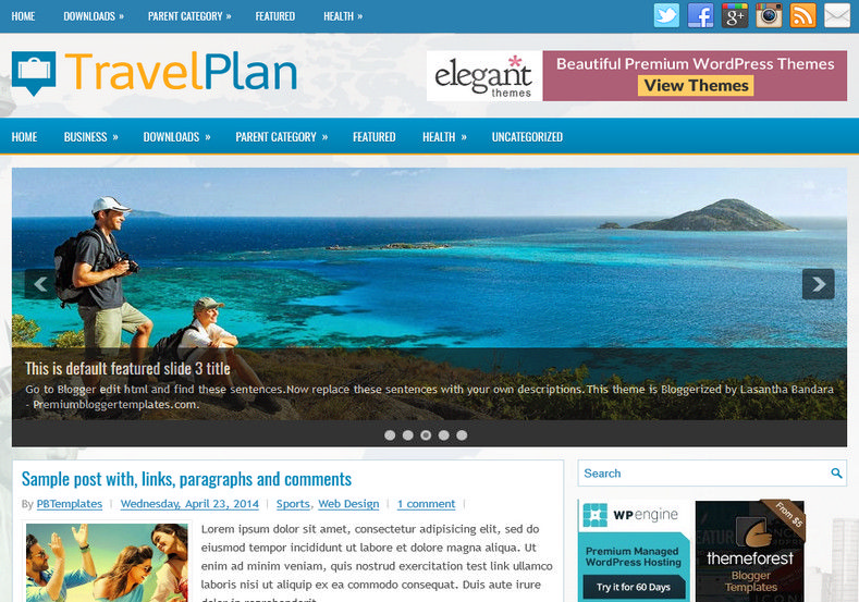 TravelPlan Responsive Blogger Template. Blogger Themes. Free Blogspot templates for your blogger blog. Best suitable for news blog templates. Best Ads ready blogspot templates help for add adsense ad code and easily showing adsence ads in your blog. Adapted from WordPress templates are converted from WordPress themes. It is help for take your rich. Blogger magazine template specially designed for magazine blogs. The writers can utilize this themes for take blog attractive to users. Elegant themes are more used themes in most of the blogs. Use minimalist blog templates for rich look for your blog. Free premium blogger themes means, themes authors release two types of themes. One is premium another one is free. Premium templates given for cost but free themes given for no cost. You no need pay From California, USA. $10 USD, or $20 USD and more. But premium buyers get more facilities from authors But free buyers. If you run game or other animation oriented blogs, and you can try with Anime blog templates. Today the world is fashion world. So girls involve to the criteria for make their life fashionable. So we provide fashion blogger themes for make your fashionable. News is most important concept of the world. Download news blogger templates for publishing online news. You can make your blog as online shopping store. Get Online shopping store blogger template to sell your product. Navigation is most important to users find correct place. Download drop down menu, page navigation menu, breadcrumb navigation menu and vertical dropdown menu blogspot themes for free. Google Guide to blogging tips and tricks for bloggers. Google bloggers can get blogspot trick and tips for bloggers. Blog templates portfolio professional blogspot themes, You can store your life moments with your blogs with personal pages templates. Video and movie blogs owners get amazing movie blog themes for their blogs. Business templates download. We publish blogger themes for photographers. Photographers