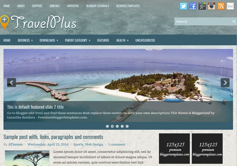 TravelPlus Blogger Template. Blogger Themes. Free Blogspot templates for your blogger blog. Best suitable for news blog templates. Ads ready blogspot templates help for add adsense ad code and easily showing adsence ads in your blog. Adapted from WordPress templates are converted from WordPress themes. It is help for take your rich. Blogger magazine template specially designed for magazine blogs. The writers can utilize this themes for take blog attractive to users. Elegant themes are more used themes in most of the blogs. Minimalist blog templates. Free premium blogger themes means, themes authors release two types of themes. One is premium another one is free. Premium templates given for cost but free themes given for no cost. You no need pay From California, USA. $10 USD, or $20 USD and more. But premium buyers get more facilities from authors But free buyers. If you run game or other animation oriented blogs, and you can try with Anime blog templates. Today the world is fashion world. So girls involve to the criteria for make their life fashionable. So we provide fashion blogger themes for make your fashionable. News is most important concept of the world. Download news blogger templates for publishing online news. You can make your blog as online shopping store. Get Online shopping store blogger template to sell your product. Navigation is most important to users find correct place. Download drop down menu, page navigation menu, breadcrumb navigation menu and vertical dropdown menu blogspot themes for free. Google Guide. Blogging tips and Tricks for bloggers. Google bloggers can get blogspot trick and tips for bloggers. Blog templates portfolio professional blogspot themes, You can store your life moments with your blogs with personal pages templates. Video and movie blogs owners get amazing movie blog themes for their blogs. Business templates download. We publish blogger themes for photographers. Photographers easily share photos via photography blog themes. St valentine Christmas Halloween templates. Download Slideshow slider templates for free. Under construction coming soon custom blogspot template. Best beautiful high quality Custom layouts Blog templates from templateism, SoraTemplates, templatetrackers, simple, cute free premium professional unique designs blog themes blogspot themes. Seo ready portfolio anime fashion movie movies health custom layouts best download blogspot themes simple cute free premium professional unique designs xml html code html5.
