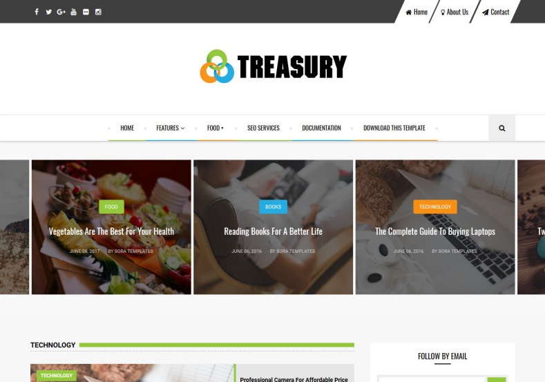 Treasury Blogger Template. Template designed by sora templates. It has attractive social bookmarking icons. Download free blogger templates 2016 . Treasury Blogger Template.