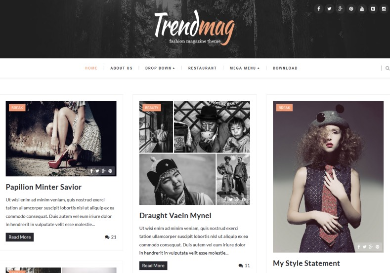 Trendmag Fullwidth Masonry Blogger Template. Blogger Themes. Free Blogspot templates for your blogger blog. Best suitable for news blog templates. Best Ads ready blogspot templates help for add adsense ad code and easily showing adsence ads in your blog. Adapted from WordPress templates are converted from WordPress themes. It is help for take your rich. Blogger magazine template specially designed for magazine blogs. The writers can utilize this themes for take blog attractive to users. Elegant themes are more used themes in most of the blogs. Use minimalist blog templates for rich look for your blog. Free premium blogger themes means, themes authors release two types of themes. One is premium another one is free. Premium templates given for cost but free themes given for no cost. You no need pay From California, USA. $10 USD, or $20 USD and more. But premium buyers get more facilities from authors But free buyers. If you run game or other animation oriented blogs, and you can try with Anime blog templates. Today the world is fashion world. So girls involve to the criteria for make their life fashionable. So we provide fashion blogger themes for make your fashionable. News is most important concept of the world. Download news blogger templates for publishing online news. You can make your blog as online shopping store. Get Online shopping store blogger template to sell your product. Navigation is most important to users find correct place. Download drop down menu, page navigation menu, breadcrumb navigation menu and vertical dropdown menu blogspot themes for free. Google Guide to blogging tips and tricks for bloggers. Google bloggers can get blogspot trick and tips for bloggers. Blog templates portfolio professional blogspot themes, You can store your life moments with your blogs with personal pages templates. Video and movie blogs owners get amazing movie blog themes for their blogs. Business templates download. We publish blogger themes for photographers. Photographers easily share photos via photography blog themes. St valentine Christmas Halloween templates. Download Slideshow slider templates for free. Under construction coming soon custom blogspot template. Best beautiful high quality Custom layouts Blog templates from templateism, soratemplates, templatetrackers, simple, cute free premium professional unique designs blog themes blogspot themes. Seo ready portfolio anime fashion movie movies health custom layouts best download blogspot themes simple cute free premium professional unique designs xml html code html5. Trendmag Fullwidth Masonry Blogger Template.