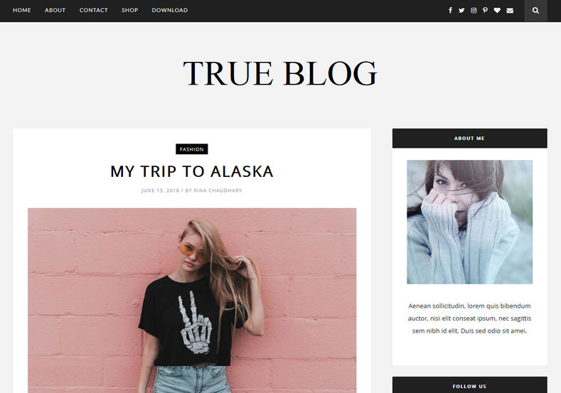 True Blog Free Blogger Templates is a perfect responsive minimal premium Fashion, Lifestyle and Personal blogspot theme