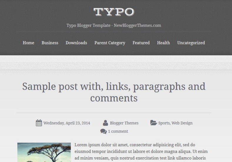 Typo Blogger Template 2015 Free single column magazine template