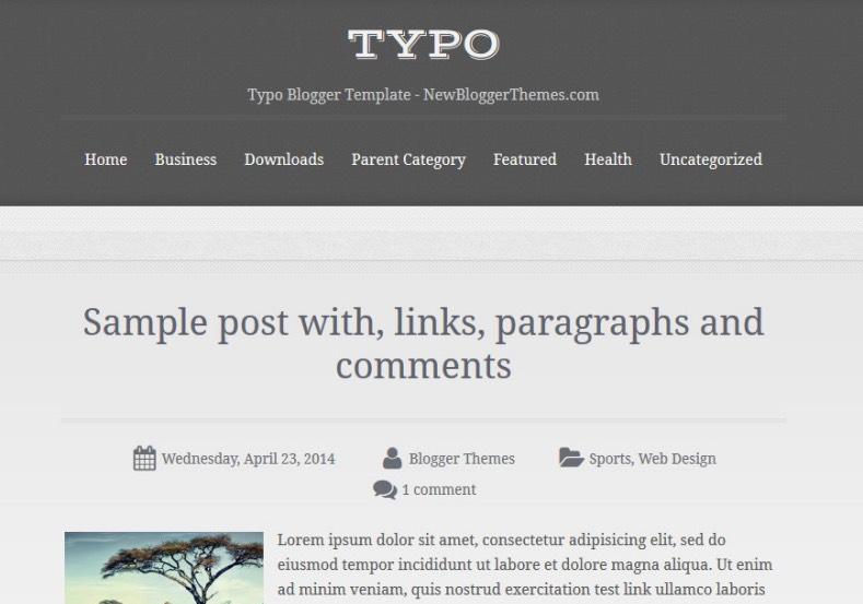 Typo Blogger Template 2015 Free single column magazine template