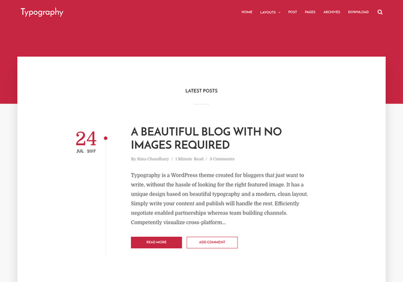 Typography Blogger Template is a very simple, clean and elegant responsive theme for writers