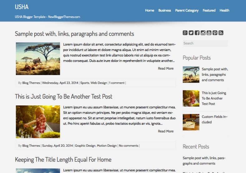 USHA Simple Blogger Template. Blogger Themes. Free Blogspot templates for your blogger blog. Best suitable for news blog templates. Best Ads ready blogspot templates help for add adsense ad code and easily showing adsence ads in your blog. Adapted from WordPress templates are converted from WordPress themes. It is help for take your rich. Blogger magazine template specially designed for magazine blogs. The writers can utilize this themes for take blog attractive to users. Elegant themes are more used themes in most of the blogs. Use minimalist blog templates for rich look for your blog. Free premium blogger themes means, themes authors release two types of themes. One is premium another one is free. Premium templates given for cost but free themes given for no cost. You no need pay From California, USA. $10 USD, or $20 USD and more. But premium buyers get more facilities from authors But free buyers. If you run game or other animation oriented blogs, and you can try with Anime blog templates. Today the world is fashion world. So girls involve to the criteria for make their life fashionable. So we provide fashion blogger themes for make your fashionable. News is most important concept of the world. Download news blogger templates for publishing online news. You can make your blog as online shopping store. Get Online shopping store blogger template to sell your product. Navigation is most important to users find correct place. Download drop down menu, page navigation menu, breadcrumb navigation menu and vertical dropdown menu blogspot themes for free. Google Guide to blogging tips and tricks for bloggers. Google bloggers can get blogspot trick and tips for bloggers. Blog templates portfolio professional blogspot themes, You can store your life moments with your blogs with personal pages templates. Video and movie blogs owners get amazing movie blog themes for their blogs. Business templates download. We publish blogger themes for photographers. Photographers easily share photos via photography blog themes. St valentine Christmas Halloween templates. Download Slideshow slider templates for free. Under construction coming soon custom blogspot template. Best beautiful high quality Custom layouts Blog templates from templateism, SoraTemplates, templatetrackers, simple, cute free premium professional unique designs blog themes blogspot themes. Seo ready portfolio anime fashion movie movies health custom layouts best download blogspot themes simple cute free premium professional unique designs xml html code html5.