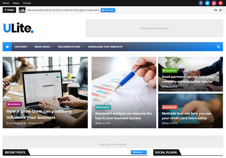 UltraLite Blogger Template is a semi magazine latest blogspot theme with stylish design and easy to edit attractive layout