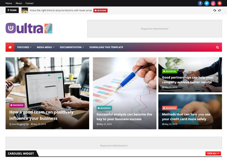 UltraMag Blogger Template is an ultimate new magazine blogging blogger theme which is having most advanced color combination and seo code structure