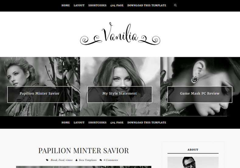 Vanilia Blogger Template great looking back and white blogspot themes and blog templates 2018 Vanilia Blogger Template