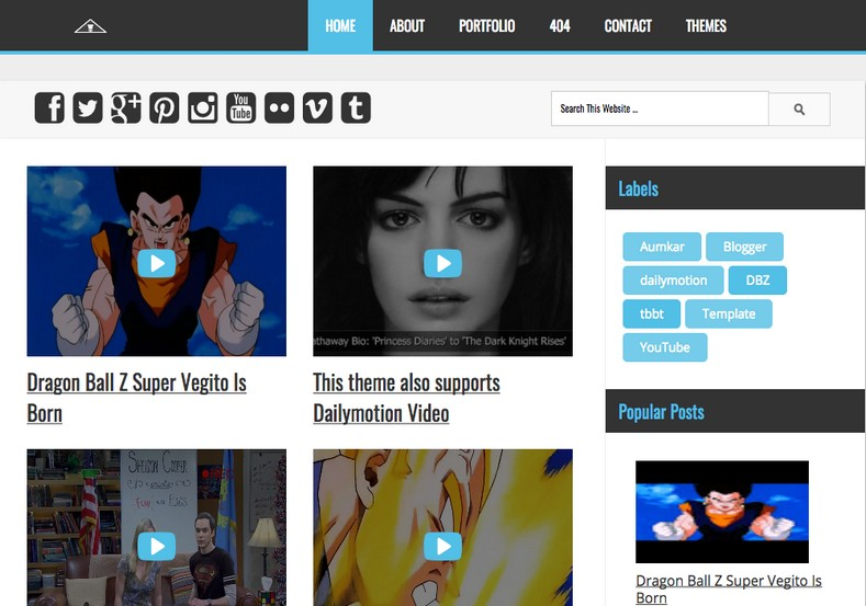 Vegeta YouTube Dailymotion Videos Blogger Template 2014 Free