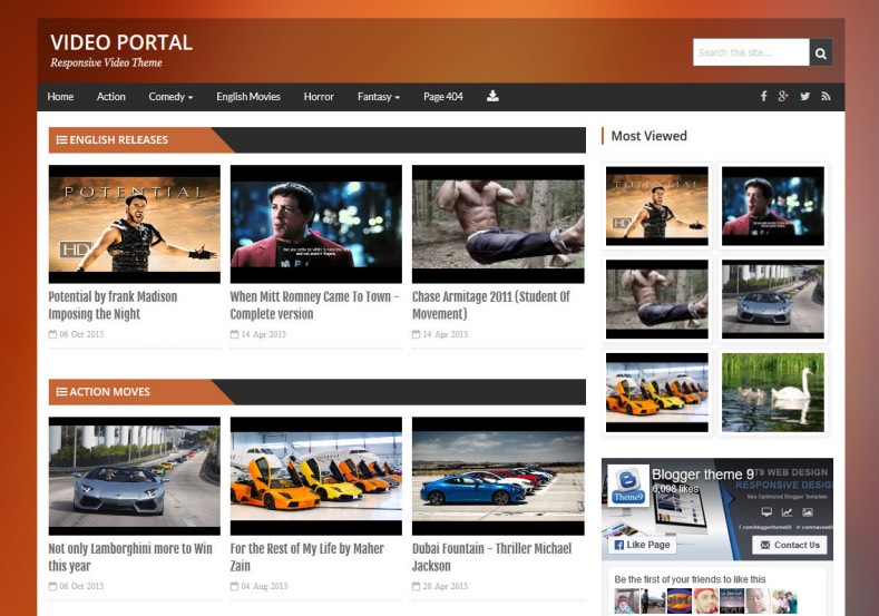 Video Portal Blogger Template. Blogger Themes. Free Blogspot templates for your blogger blog. Best suitable for news blog templates. Best Ads ready blogspot templates help for add adsense ad code and easily showing adsence ads in your blog. Adapted from WordPress templates are converted from WordPress themes. It is help for take your rich. Blogger magazine template specially designed for magazine blogs. The writers can utilize this themes for take blog attractive to users. Elegant themes are more used themes in most of the blogs. Use minimalist blog templates for rich look for your blog. Free premium blogger themes means, themes authors release two types of themes. One is premium another one is free. Premium templates given for cost but free themes given for no cost. You no need pay From California, USA. $10 USD, or $20 USD and more. But premium buyers get more facilities from authors But free buyers. If you run game or other animation oriented blogs, and you can try with Anime blog templates. Today the world is fashion world. So girls involve to the criteria for make their life fashionable. So we provide fashion blogger themes for make your fashionable. News is most important concept of the world. Download news blogger templates for publishing online news. You can make your blog as online shopping store. Get Online shopping store blogger template to sell your product. Navigation is most important to users find correct place. Download drop down menu, page navigation menu, breadcrumb navigation menu and vertical dropdown menu blogspot themes for free. Google Guide to blogging tips and tricks for bloggers. Google bloggers can get blogspot trick and tips for bloggers. Blog templates portfolio professional blogspot themes, You can store your life moments with your blogs with personal pages templates. Video and movie blogs owners get amazing movie blog themes for their blogs. Business templates download. We publish blogger themes for photographers. Photographers easily share photos via photography blog themes. St valentine Christmas Halloween templates. Download Slideshow slider templates for free. Under construction coming soon custom blogspot template. Best beautiful high quality Custom layouts Blog templates from templateism, SoraTemplates, templatetrackers, simple, cute free premium professional unique designs blog themes blogspot themes. Seo ready portfolio anime fashion movie movies health custom layouts best download blogspot themes simple cute free premium professional unique designs xml html code html5. Video Portal Blogger Template