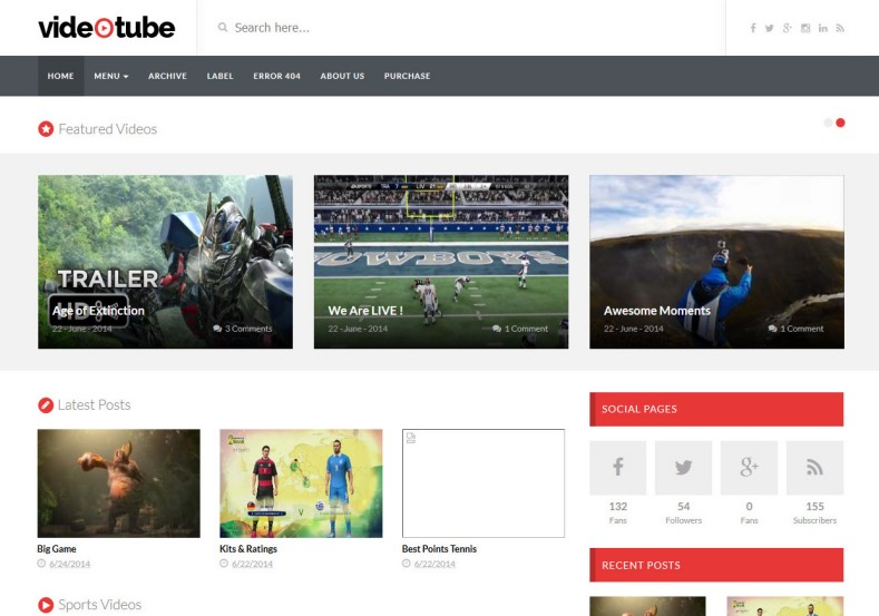 VideoTube Responsive Blogger Template 2014 Free Blogger Templates