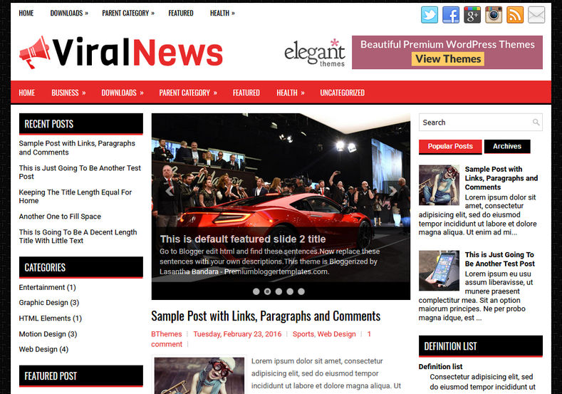 ViralNews Blog Blogger Template is a stylish and clean free blogspot template with fast loading features