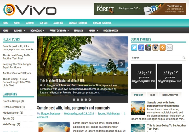Vivo magazine blogger template free graphics free for Create your own wordpress theme from an html template