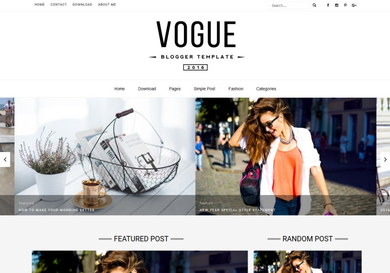 Vogue Blogger Template. Free fashion and photography blogger templates for fashion designers and girls. Free download Vogue Blogger Template.