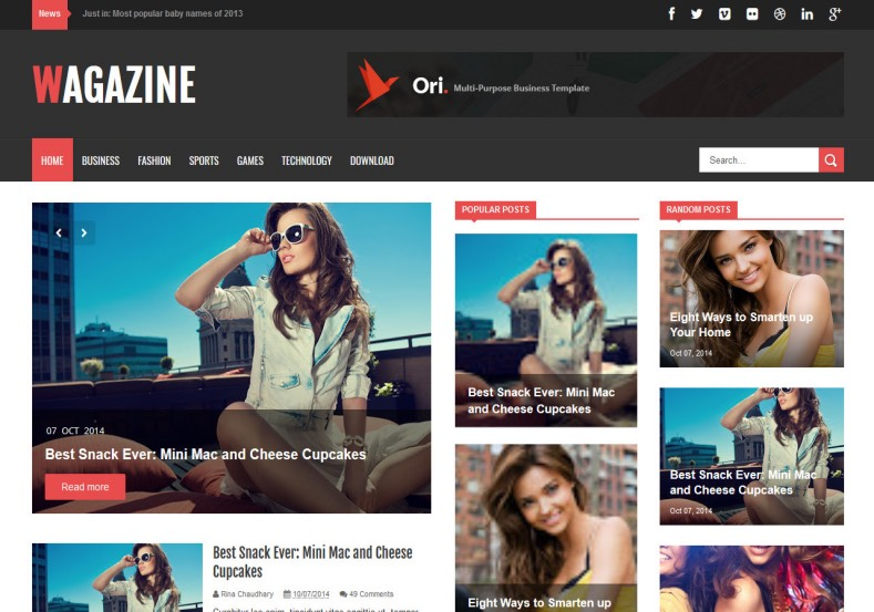 Wagazine Blogger Template. Blogger Themes. Free Blogspot templates for your blogger blog. Best suitable for news blog templates. Best Ads ready blogspot templates help for add adsense ad code and easily showing adsence ads in your blog. Adapted from WordPress templates are converted from WordPress themes. It is help for take your rich. Blogger magazine template specially designed for magazine blogs. The writers can utilize this themes for take blog attractive to users. Elegant themes are more used themes in most of the blogs. Use minimalist blog templates for rich look for your blog. Free premium blogger themes means, themes authors release two types of themes. One is premium another one is free. Premium templates given for cost but free themes given for no cost. You no need pay From California, USA. $10 USD, or $20 USD and more. But premium buyers get more facilities from authors But free buyers. If you run game or other animation oriented blogs, and you can try with Anime blog templates. Today the world is fashion world. So girls involve to the criteria for make their life fashionable. So we provide fashion blogger themes for make your fashionable. News is most important concept of the world. Download news blogger templates for publishing online news. You can make your blog as online shopping store. Get Online shopping store blogger template to sell your product. Navigation is most important to users find correct place. Download drop down menu, page navigation menu, breadcrumb navigation menu and vertical dropdown menu blogspot themes for free. Google Guide to blogging tips and tricks for bloggers. Google bloggers can get blogspot trick and tips for bloggers. Blog templates portfolio professional blogspot themes, You can store your life moments with your blogs with personal pages templates. Video and movie blogs owners get amazing movie blog themes for their blogs. Business templates download. We publish blogger themes for photographers. Photographers easily share photos via photography blog themes. St valentine Christmas Halloween templates. Download Slideshow slider templates for free. Under construction coming soon custom blogspot template. Best beautiful high quality Custom layouts Blog templates from templateism, SoraTemplates, templatetrackers, simple, cute free premium professional unique designs blog themes blogspot themes. Seo ready portfolio anime fashion movie movies health custom layouts best download blogspot themes simple cute free premium professional unique designs xml html code html5. Wagazine Blogger Template