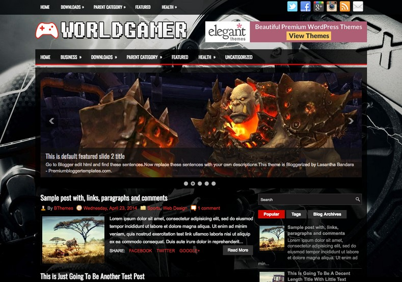 WorldGamer Blogger Template. Blogger Themes. Free Blogspot templates for your blogger blog. Best suitable for news blog templates. Best Ads ready blogspot templates help for add adsense ad code and easily showing adsence ads in your blog. Adapted from WordPress templates are converted from WordPress themes. It is help for take your rich. Blogger magazine template specially designed for magazine blogs. The writers can utilize this themes for take blog attractive to users. Elegant themes are more used themes in most of the blogs. Use minimalist blog templates for rich look for your blog. Free premium blogger themes means, themes authors release two types of themes. One is premium another one is free. Premium templates given for cost but free themes given for no cost. You no need pay From California, USA. $10 USD, or $20 USD and more. But premium buyers get more facilities from authors But free buyers. If you run game or other animation oriented blogs, and you can try with Anime blog templates. Today the world is fashion world. So girls involve to the criteria for make their life fashionable. So we provide fashion blogger themes for make your fashionable. News is most important concept of the world. Download news blogger templates for publishing online news. You can make your blog as online shopping store. Get Online shopping store blogger template to sell your product. Navigation is most important to users find correct place. Download drop down menu, page navigation menu, breadcrumb navigation menu and vertical dropdown menu blogspot themes for free. Google Guide to blogging tips and tricks for bloggers. Google bloggers can get blogspot trick and tips for bloggers. Blog templates portfolio professional blogspot themes, You can store your life moments with your blogs with personal pages templates. Video and movie blogs owners get amazing movie blog themes for their blogs. Business templates download. We publish blogger themes for photographers. Photographers easily share photos via photography blog themes. St valentine Christmas Halloween templates. Download Slideshow slider templates for free. Under construction coming soon custom blogspot template. Best beautiful high quality Custom layouts Blog templates from templateism, SoraTemplates, templatetrackers, simple, cute free premium professional unique designs blog themes blogspot themes. Seo ready portfolio anime fashion movie movies health custom layouts best download blogspot themes simple cute free premium professional unique designs xml html code html5.