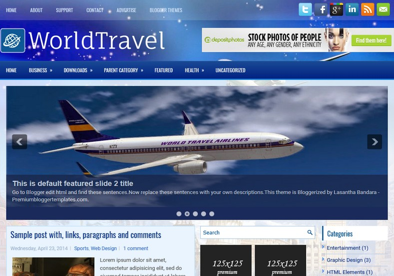 WorldTravel Blue Blogger Template. Blogger Themes. Free Blogspot templates for your blogger blog. Best suitable for news blog templates. Ads ready blogspot templates help for add adsense ad code and easily showing adsence ads in your blog. Adapted from WordPress templates are converted from WordPress themes. It is help for take your rich. Blogger magazine template specially designed for magazine blogs. The writers can utilize this themes for take blog attractive to users. Elegant themes are more used themes in most of the blogs. Use minimalist blog templates for rich look for your blog. Free premium blogger themes means, themes authors release two types of themes. One is premium another one is free. Premium templates given for cost but free themes given for no cost. You no need pay From California, USA. $10 USD, or $20 USD and more. But premium buyers get more facilities from authors But free buyers. If you run game or other animation oriented blogs, and you can try with Anime blog templates. Today the world is fashion world. So girls involve to the criteria for make their life fashionable. So we provide fashion blogger themes for make your fashionable. News is most important concept of the world. Download news blogger templates for publishing online news. You can make your blog as online shopping store. Get Online shopping store blogger template to sell your product. Navigation is most important to users find correct place. Download drop down menu, page navigation menu, breadcrumb navigation menu and vertical dropdown menu blogspot themes for free. Google Guide to blogging tips and tricks for bloggers. Google bloggers can get blogspot trick and tips for bloggers. Blog templates portfolio professional blogspot themes, You can store your life moments with your blogs with personal pages templates. Video and movie blogs owners get amazing movie blog themes for their blogs. Business templates download. We publish blogger themes for photographers. Photographers easily share photos via photography blog themes. St valentine Christmas Halloween templates. Download Slideshow slider templates for free. Under construction coming soon custom blogspot template. Best beautiful high quality Custom layouts Blog templates from templateism, SoraTemplates, templatetrackers, simple, cute free premium professional unique designs blog themes blogspot themes. Seo ready portfolio anime fashion movie movies health custom layouts best download blogspot themes simple cute free premium professional unique designs xml html code html5.