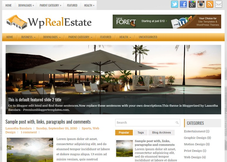 Wp Real Estate Blogger Template is a fully responsive, clean, fast loading, simple and highly seo optimized blogspot theme.