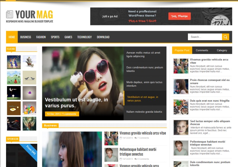Your Mag Responsive Blogger Template Magazine seo ready news yellow themexpose