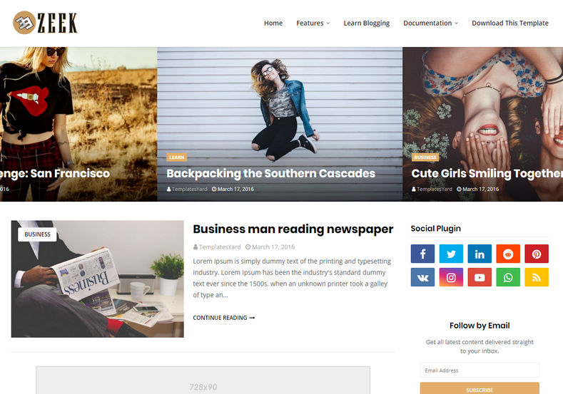Zeek Blogger Template is a super simple, clean and minimal blogger theme with ultra fast loading speed and stylish design.