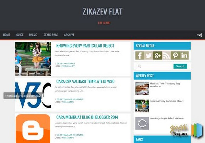 zikazev flat responsive blogger template 2014 free blogger templates. Black Bedroom Furniture Sets. Home Design Ideas