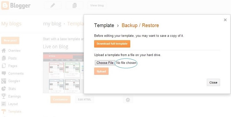 upload blogger template after Backup and restore in blogger- How to install a Blogger Template 2013