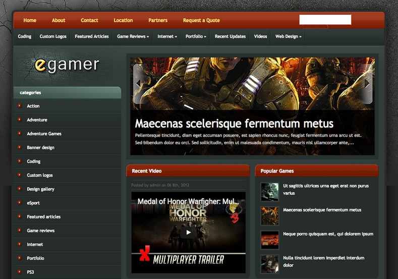 Egamer blogger template 2014 free download for E magazine templates free download