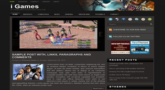 I Games Blogger Template 2014 Free Download