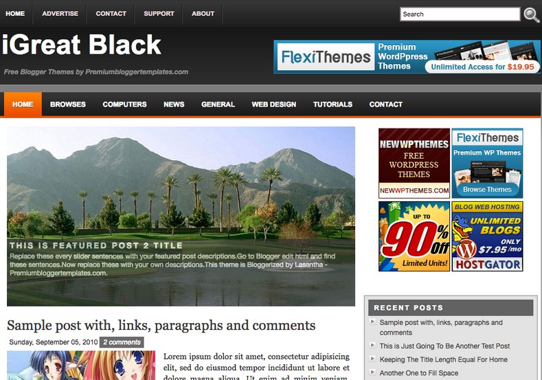 iGreat Black Blogger Template 2014 Free Download
